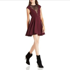BCBGeneration lace inset dress in deep maroon